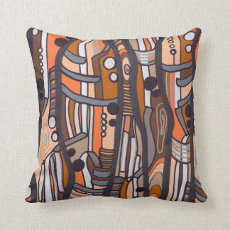 Jazzy Abstract Earthtones Pillow