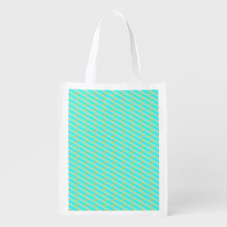 Jazzy blue and gold pattern reusable grocery bag