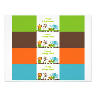 Jazzy Jungle Animal Water Bottle Labels Flyer