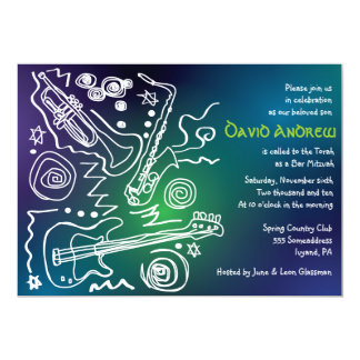 Jazzy Musical Bar Bat Mitzvah Invitation