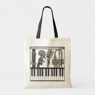 Jazzy Musical Instruments in Charcoal Tote Bag