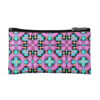 Jazzy Pink and Aqua Shibori patterned Purse Cosmetic Bag