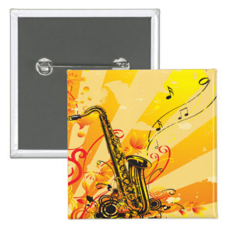 Jazzy Saxophone Beams Of Music 2 Inch Square Button
