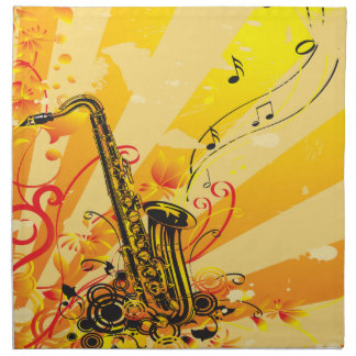 Jazzy Saxophone Beams Of Music Cloth Napkin