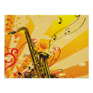 Jazzy Saxophone Beams Of Music Poster