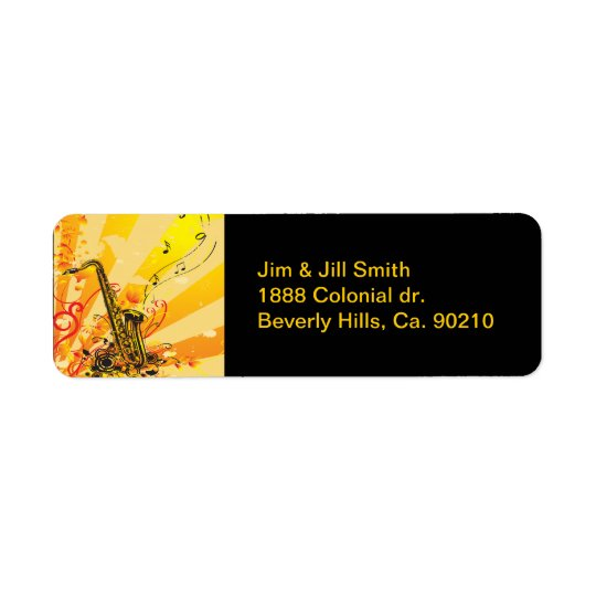 Jazzy Saxophone Beams Of Music Return Address Label