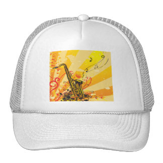 Jazzy Saxophone Beams Of Music Trucker Hat