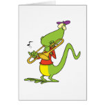 jazzy trombone playing lizard cartoon cards