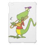 jazzy trombone playing lizard cartoon iPad mini cases