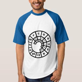 JBR circle of fifths, decoder ring, front, jbr bak T-shirt