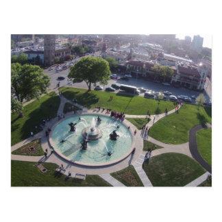 JC Nichols memorial fountain Kansas City Postcard