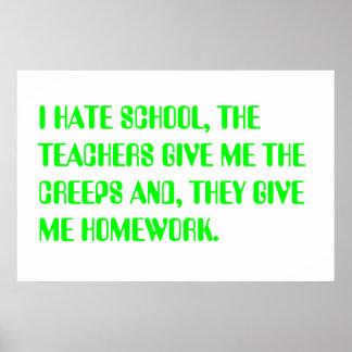je déteste l'école posters