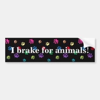 """""""Je freine pour des animaux !"""" Pattes peintes par Autocollant De Voiture"""