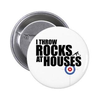Je jette des roches au bordage de maisons macaron rond 5 cm