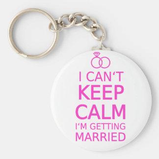 Je ne peux pas garder le calme, je me marie porte-clé rond