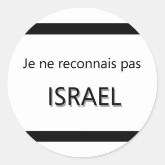 je ne reconnais pas israel classic round sticker