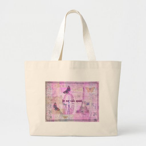 Je ne sais quoi  - French Phrase - Paris Theme art Bags
