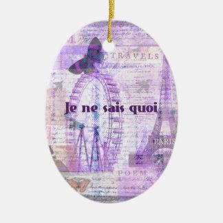 Je ne sais quoi  French Phrase - Paris Theme art Ceramic Oval Ornament
