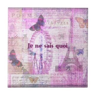 Je ne sais quoi  - French Phrase - Paris Theme art Ceramic Tile