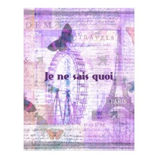 Je ne sais quoi  French Phrase - Paris Theme art Personalized Letterhead