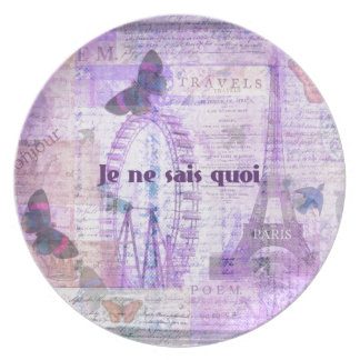 Je ne sais quoi  French Phrase - Paris Theme art Party Plates