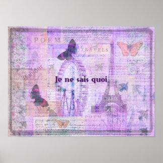 Je ne sais quoi  French Phrase - Paris Theme art Poster
