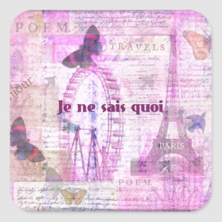 Je ne sais quoi  - French Phrase - Paris Theme art Square Sticker
