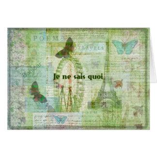 Je ne sais quoi French Phrase  Paris Theme decor Greeting Card