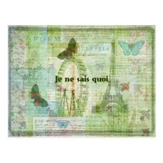 Je ne sais quoi French Phrase  Paris Theme decor Postcard