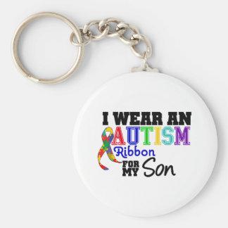 Je porte le ruban d'autisme pour mon fils porte-clef