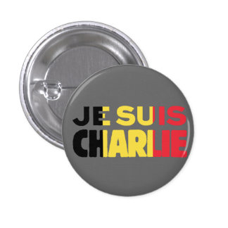 Je Suis Charlie -I am Charlie-Belgium Flag on Grey 1 Inch Round Button