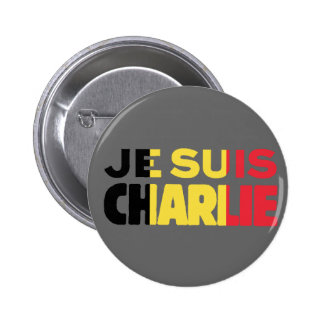 Je Suis Charlie -I am Charlie-Belgium Flag on Grey 2 Inch Round Button