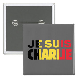 Je Suis Charlie -I am Charlie-Belgium Flag on Grey 2 Inch Square Button