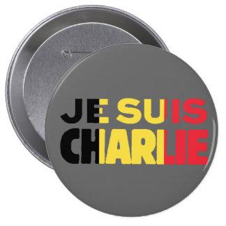 Je Suis Charlie-I am Charlie-Belgium Flag on Grey Pinback Button
