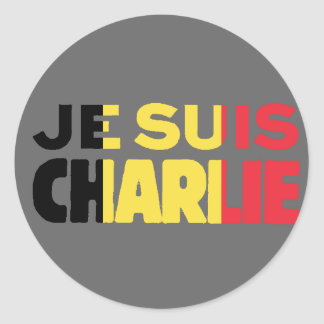 Je Suis Charlie-I am Charlie-Belgium Flag on Grey Classic Round Sticker