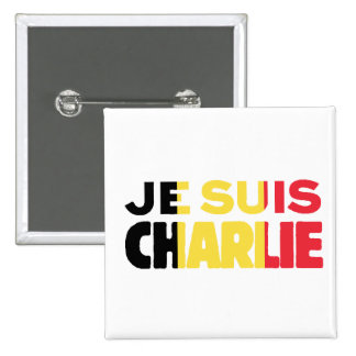 Je Suis Charlie-I am Charlie-Belgium Flag on White 2 Inch Square Button