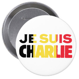 Je Suis Charlie-I am Charlie-Belgium Flag on White Pinback Buttons