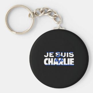 Je Suis Charlie-I Am Charlie-Israel Flag on Black Keychain
