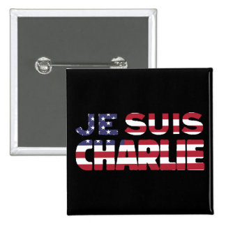 Je Suis Charlie -I am Charlie-Stars and Stripes US 2 Inch Square Button
