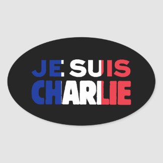 Je Suis Charlie -I am Charlie Tri-Colour of France Oval Sticker
