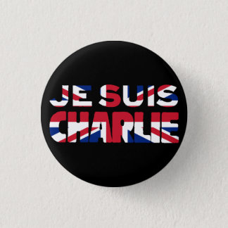 Je Suis Charlie-I am Charlie'-Union Jack UK 1 Inch Round Button