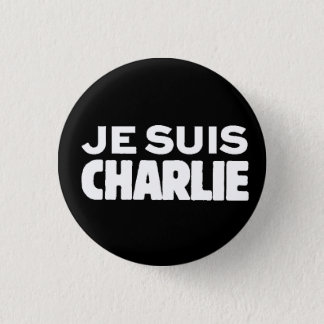 Je Suis Charlie-I am Charlie-White on Black 1 Inch Round Button