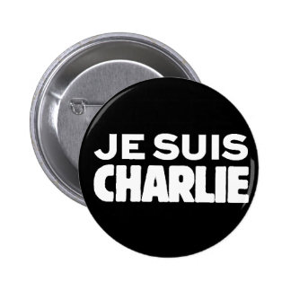 Je Suis Charlie - I am Charlie- White on Black 2 Inch Round Button