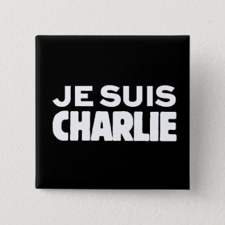 Je Suis Charlie-I am Charlie-White on Black 2 Inch Square Button