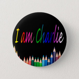 Je Suis Charlie rainbow pencils 2 Inch Round Button