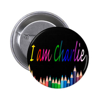 Je Suis Charlie rainbow pencils 2 Inch Round Button