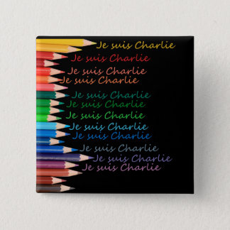 Je Suis Charlie rainbow pencils 2 Inch Square Button