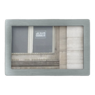 Je Suis Charlie Sign in a Paris window, France Rectangular Belt Buckle