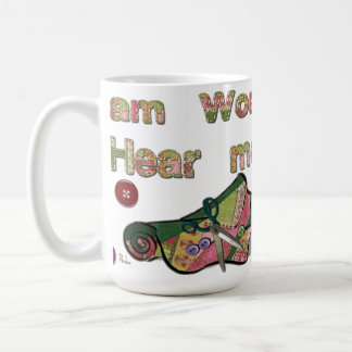 Je suis femme m'entends coudre mug blanc