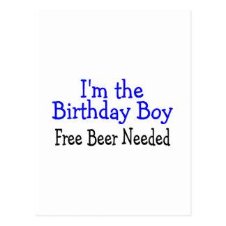 Je suis la bière libre de garçon d'anniversaire re cartes postales